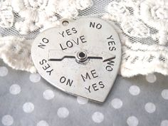 1- Question Answering Pendant Spinning Dial Heart Love Me Yes or No Large Charm Antique Silver Jewelry Making Supplies INV0142 by BuyDiy on Etsy