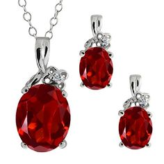 5.67 Ct Genuine Oval Red Garnet Gemstone 14k White Gold Pendant Earrings Set #394.99 incl small diamond (Jan Trad Set)