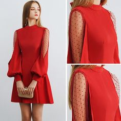 Modest / Simple Burgundy See-through Homecoming Graduation Dresses 2019 A-Line /. - - Modest / Simple Burgundy See-through Homecoming Graduation Dresses 2019 A-Line / Princess High Neck Puffy Long Sleeve Short Ruffle Backless Formal Dre. Modest Dresses, Simple Dresses, Elegant Dresses, Sexy Dresses, Short Dresses, Fashion Dresses, Semi Formal Dresses With Sleeves, Long Sleeve Formal Dress, Dress Long