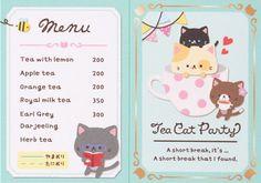 Kawaii mini card Tea Cat Party
