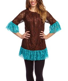 Look at this Brown & Teal Lace Tunic on #zulily today!