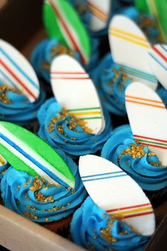 surf board cupcakes by @Nadine Ross