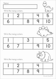 Dinosaur Preschool Math and Literacy No Prep worksheets and activities. A page from the unit: write the missing numbers.: