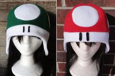 Red or Green Mario Mushroom Hat - sold on my etsy