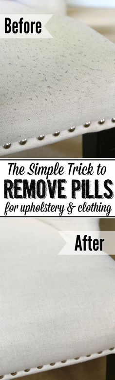 Learn how to remove pills from clothing and upholstery with this quick and easy trick! Your items will look like new again!