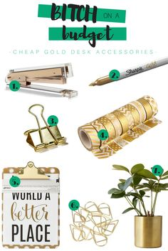 Bitch on a Budget: March 2017   Gold Desk Accessories - Liven up your work space with a golden stapler, gold Sharpies, a gold planter, and so much more.