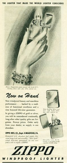 Vintage Zippo Advertisement from 1946