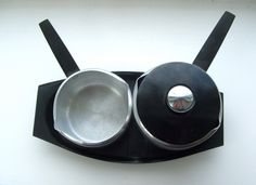 Mid Century Modern Metal and Plastic  Serving Set by lookonmytreasures on Etsy