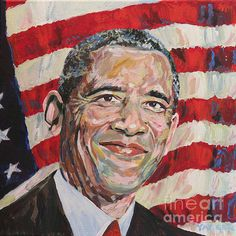 My portrait of President Barack Obama.   Acrylic paint on canvas.  Comments are welcome.