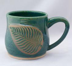 Extra-large stoneware pottery mug, green and light blue glaze, leaf stamp appliqué (16oz) by CenteredVessel on Etsy