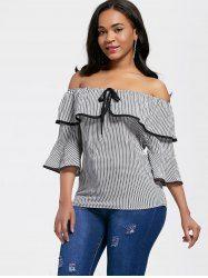 Bell Sleeve Off The Shoulder Stripe Blouse - STRIPE M Mobile