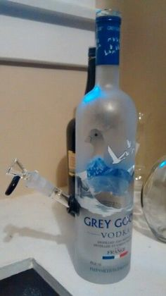 Bottle Bong, Vodka Bottle, Grey Goose, Glass Bongs, Liquor Bottles, Bottle Crafts, Lights, Lamps, Diy