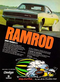 """1968 Charger R/T Ad: """"RAMROD"""" - http://wildaboutcarsonline.com/"""