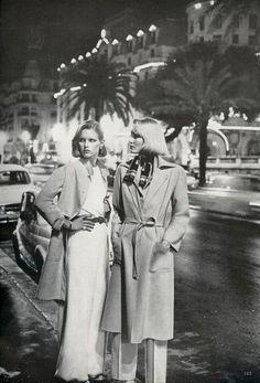 Vogue US, March 1976  Model(s): Patti Hansen  & Gunilla Lindblad Photographer: Helmut Newton