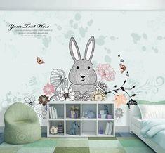 Cartoon Rabbit in the Flower Garden Wallpaper Mural - 3d Wallpaper Cute, Kids Room Wallpaper, Paper Wallpaper, Wall Wallpaper, Kids Wall Murals, Custom Wall Murals, Murals For Kids, Mural Wall, 3d Cartoon