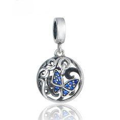 Farfalla con zirconi blu 100% argento sterling 925 adatta misure Pandora charm Pandora bead Braccialetto europeo e braccialetto Pandora di OceanBijoux su Etsy