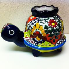 Talavera Turtle #oldworldpotteryofwichitafalls #talavera #turtle #planter #garden #colorful #decor #reptile #pottery