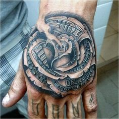Rose hand tattoos for men pin 80 money rose tattoo designs for men . Badass Tattoos, Body Art Tattoos, New Tattoos, Sleeve Tattoos, Cool Tattoos, Rose Tattoos For Women, Hand Tattoos For Guys, Trendy Tattoos, Money Rose Tattoo