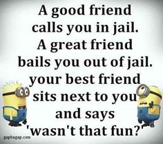 Because you and your BFF are true friendship goals. 30 Best Friend Memes To Share With Your BFF On National Best Friend Day Minion Humour, Funny Minion Memes, Minions Quotes, Funny Relatable Memes, Funny Texts, Funny Jokes, Fun Funny, Funny Share, Minions Images
