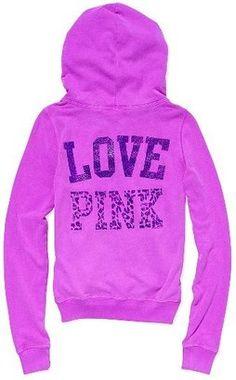 ShopStyle: Victoria's Secret Pink® Bling Signature Zip Hoodie