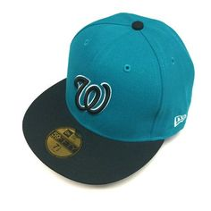 7 1 2 SIZE New Era Washington Nationals Cap Teal Blue Custom 59FIFTY Fitted  Hat 06c8cfa0c7ca