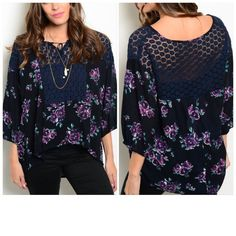 "Floral Boho Top w/ Crochet Detail S to XL Gorgeous navy floral top w/ crochet detail in front/back. Ties at bust. Size is very versatile due to style, so judge by measurements. I am a Ms. XL & am modeling a size M. 100% viscose & has stretch. Listing as S-XL, due to size versatility. Available in S ( bust: 44"", front length:24"", back length: 26""), M  ( bust: 46"", front length:24"", back length: 26""). Tops Blouses"