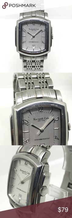 Kenneth cole steel men's watch Preowned like new. One minor scratch on face except that watch is perfect. Date indicator Kenneth Cole Accessories Watches