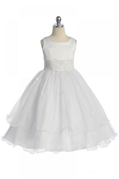 f224705d9 White Double Layer Tulle Flower Girl Dress. Baptism Outfit, Baptism Gown ...