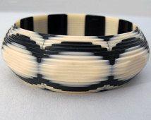 SALE - RARE Lea Stein Layered Black and Cream Cut Away Laminated Celluloid Bangle Bracelet FREE Shipping