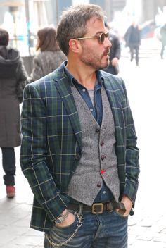 Mr. Luca Chermaz - Giacca Mauro Grifoni - jeans Edwin - occhiali Bob Sdrunk - George's Roma www.georges.it