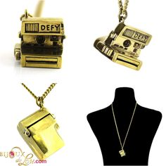 Polaroid Necklace: This clever little pendant is in the shape of a retro polaroid camera with a top that swings up and down. The pendant is made of gold tone brass and is around 1 inch wide. 3d Camera, Retro Camera, Polaroid Camera, Brass Chain, Swings, Dog Tag Necklace, Clever, Pendant Necklace, Shape