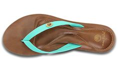Women's Lukela | Women's Sandals & Flip-flops -Ocean Minded in Brown/Island Green. Leather upper and puff footbed. I am amazed I'd ever consider a croc product. Ever!