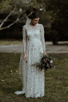 Bride in Beaded Needle & Thread Wedding Dress with Long Sleeves | Britten Veil | Maroon and White Bridal Bouquet with Green Foliage | Beaded Needle & Thread Dress for Intimate Islington Wedding | Olivia & Dan Photography