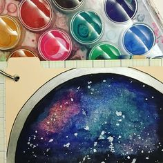 """I wasn't sure what to do for the #icad2016 prompt """"LENS"""" until Jeff suggested a view through lens of a telescope...🌝🌟🌙 #dyicad2016 #indexcards #watercolor #painting #galaxy #telescope #lens"""