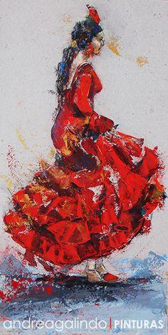 Andrea Galindo. Pintura: FERIA Y GITANITAS I