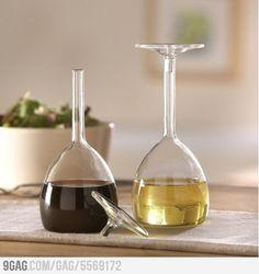 Upside down wine glasses for oil & vinegar. I SO need these