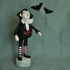 Dracula Polymer Clay Art Doll Figurine by APieceofLisa on Etsy