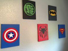 Set of 5 Superhero wall art Handmade Super hero canvas paint: Superhero Canvas, Superhero Wall Art, Bedroom Toys, Bedroom Art, Diy Canvas Art, Diy Wall Art, Marvel Bedroom, Dead Pool, Green Arrow