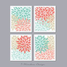 "Modern Abstract Flower Bursts Set (4) 8"" x 10"" // Shades of Pink Coral, Mint and Khaki,Tan OR Choose Your Own Colors // Bedroom, Kitchen on Etsy, $25.00"