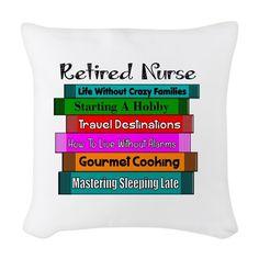 Retired Nurse Books Woven Throw Pillow on CafePress.com