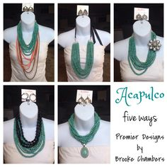 Acapulco Necklace, five ways to show off one piece. Everyone will ask you if you have a new piece of jewelry. billn99638@msn.com