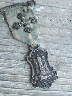 Antique Medaille w/Cross and Ribbon