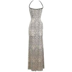 Preowned Todd Oldham Python Print Silk Jersey Dress With Beaded... (1,095 CAD) ❤ liked on Polyvore featuring dresses, evening dresses, grey, buckle dresses, beaded cocktail dresses, strap dress, silk jersey and grey cocktail dress