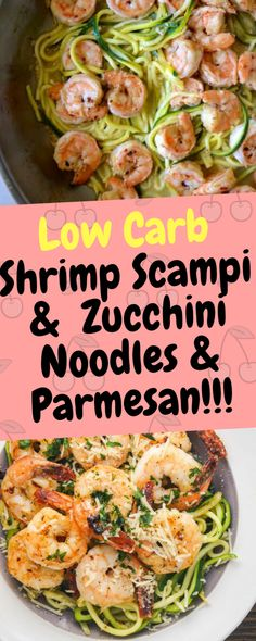 Low Carb Shrimp Scampi with Zucchini Noodles and Parmesan is a keto dish prepared with spiralized veggies (zoodles), white wine, and drenched in olive oil… Ingredients [ For 4 to 5 people ] [ Preparation time : 12 minute – Cooking time : 15 minutes Low Carb Shrimp Recipes, Zucchini Noodle Recipes, Zoodle Recipes, Seafood Recipes, Cooking Recipes, Healthy Recipes, Cooking Time, Healthy Zucchini, Bariatric Recipes