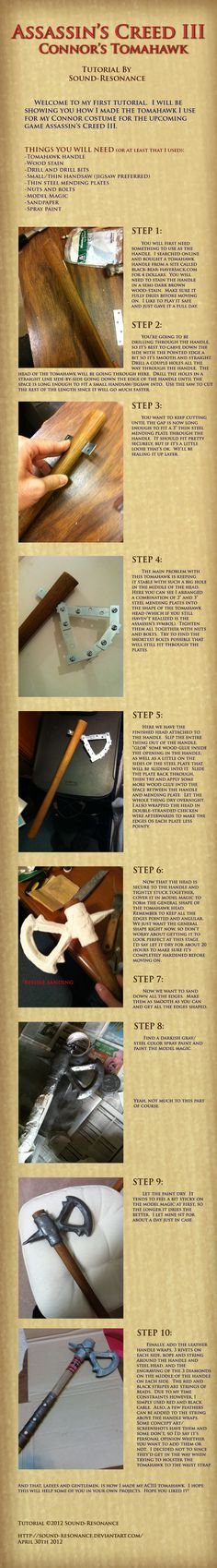 Useful tutorial for weapon making in general. Tutorial: Assassin's Creed 3: Connor's Tomahawk by ~Sound-Resonance on deviantART