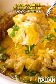 Slow Cooker Cheesy Sausage and Potato Casserole is our new favorite dinner. It is so amazingly easy to toss together. This recipe is so simple it just about cooks itself. Just toss in the ingredients and go. Best Slow Cooker, Slow Cooker Recipes, Crockpot Recipes, Potato Casserole, Casserole Recipes, Cowboy Casserole, Heathy Soup, Real Food Recipes, Cooking Recipes