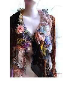 Unique Art To Wear Jacket  WILD CATS and PEACH ROSe by Paulina722, $318.00