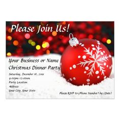 Red Snow Ornament Christmas Party Invitation Click on photo to purchase. Check out all current coupon offers and save! http://www.zazzle.com/coupons?rf=238785193994622463&tc=pin