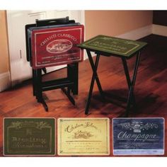 Set of 4 Classic Wine Label TV Trays with Stand & Buy Tuscan 5-Piece Snack Table Set from Bed Bath Beyond...Josh ...