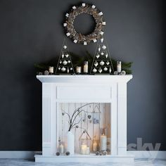 Artificial fireplace with candles and Christmas decorations - fireplace idea - Kamin Weihnachten Diy Christmas Fireplace, Fireplace Seating, Candles In Fireplace, Fake Fireplace, Fireplace Cover, Marble Fireplaces, Farmhouse Christmas Decor, Fireplace Surrounds, Fireplace Mantels